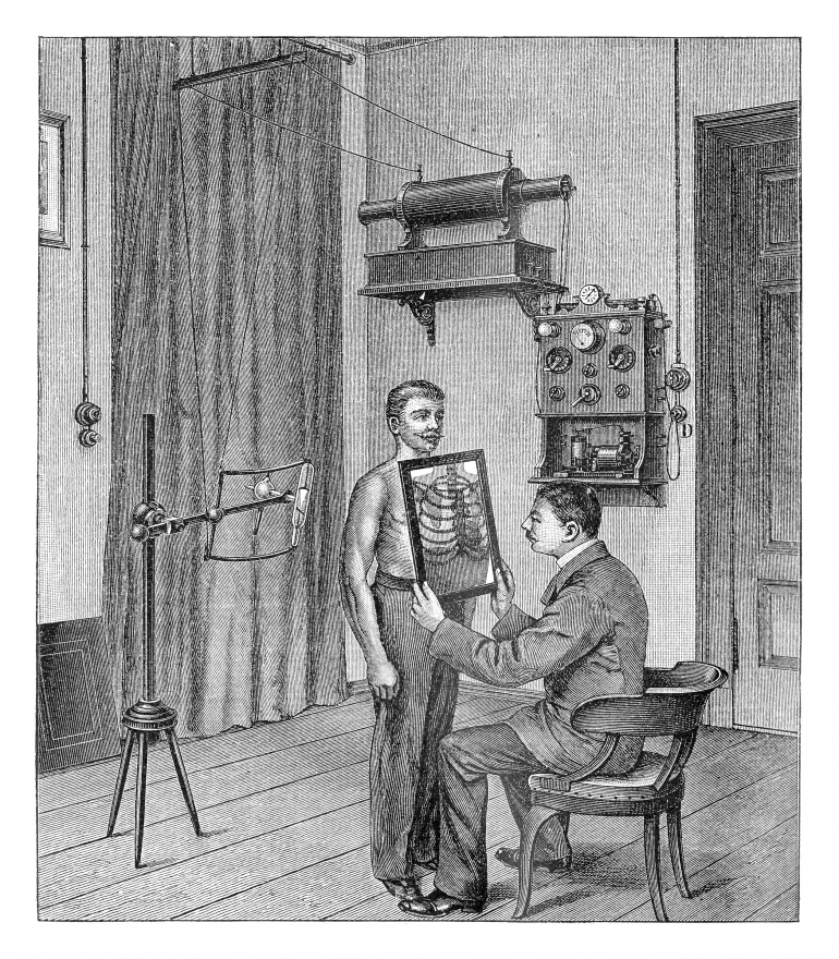 Doctor analyzing an x-ray - vintage illustration